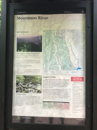 Trailhead sign found about 0.5 miles away from parking area.