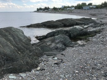 The craggy shoreline of the Bay of Chaleur.