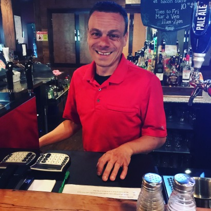 Chris, our waiter/bartender, for the night at Joey's Pub & Eatery, Bathurst, New Brunswick, Canada.