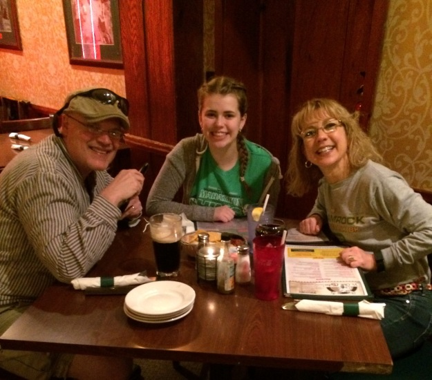 John, Maddie, and me eating dinner together the night before a college visit to Bethany,