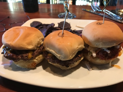 "Australian 'Kobe Beef' Sliders with a side of ""blues--John has more restraint than me when it comes to remembering to photograph his food BEFORE sampling!"