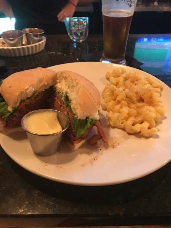 John's rare burger and mac n' cheese at Sedona.
