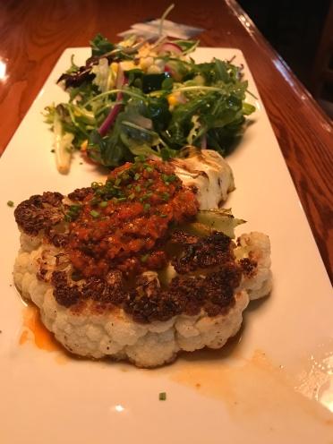 """Cauliflower steak with """"Chef Salad"""" at Cast & Crew."""