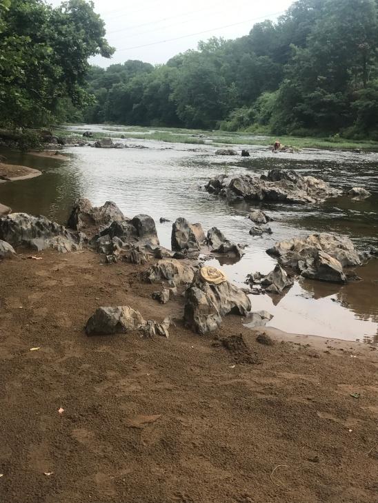 "The ""beach"" area of Riverview Park alongside the Rihanna River"