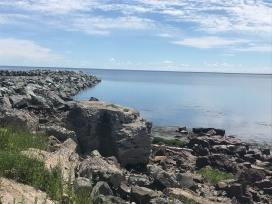 Bay of Chaleur at Petit Rocher has a unique shape and rocky shoreline.
