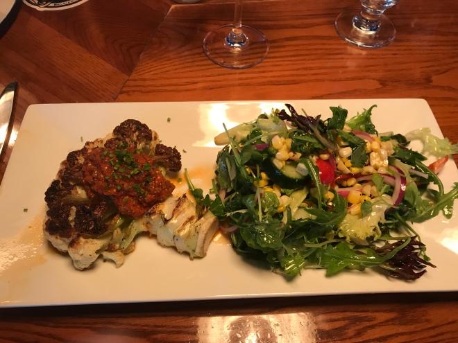 """Cauliflower """"steak"""" with """"Chef Salad"""" at Cast & Crew"""