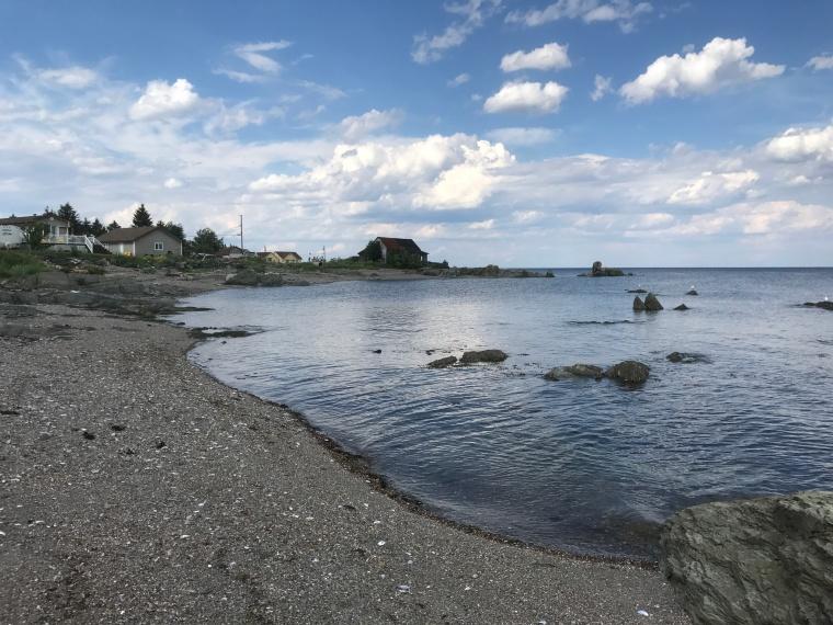 Bay of Chaleur at Petit Rocher has a unique shape and rocky shoreline.
