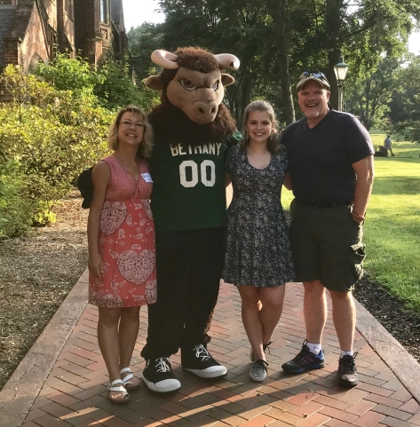 Me, Madelyn, and John at Bethany College in July 2017 for her freshman orientation.