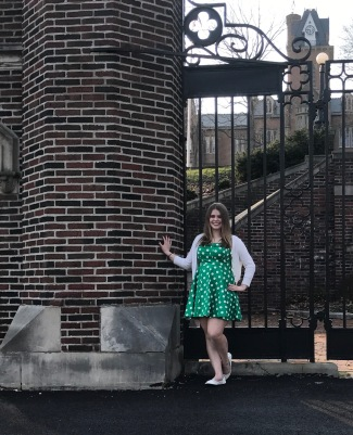 Maddie in front of Bethany College gates that are only open to students to enter at the beginning of their freshman year; and again, upon the day of their graduation. Maddie will be walking through this gate during the last week of August 2017.