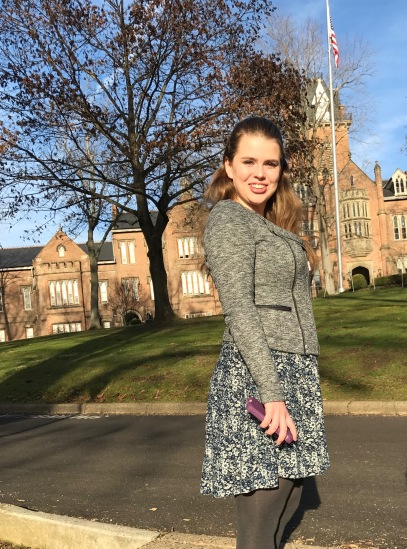 On the campus of Bethany College in December of 2016, during her senior year of high school--just before a scholarship interview.