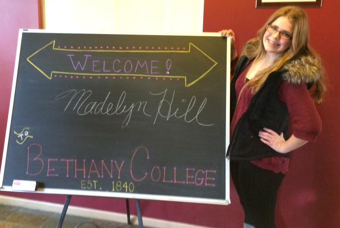 A personalized sign greeting us on our first visit to Bethany College during November 2015--during Maddie's junior year of high school.