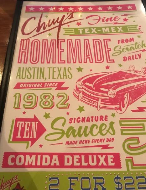 Front of Chury's menu