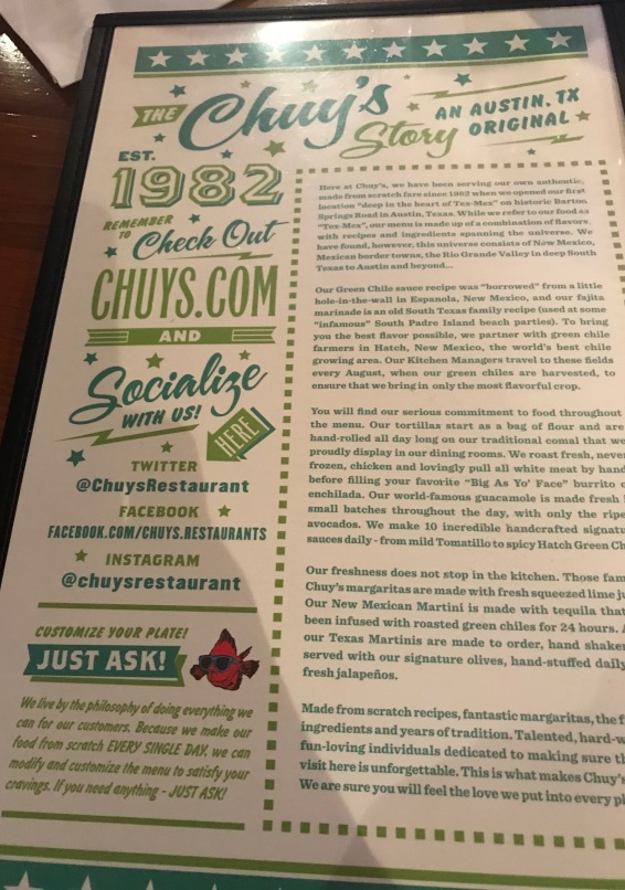 The story of Chury's found on the back of the menu