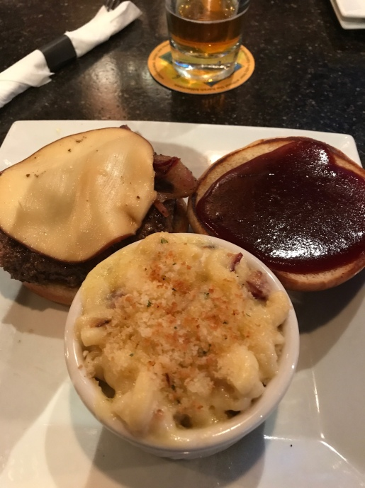 John's tasty burger and homemade Mac n cheese.