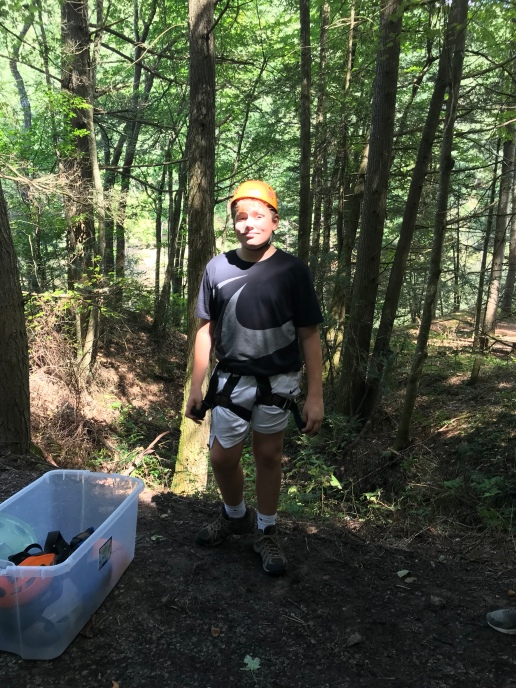 Gavin Polan was prepares to challenge himself on the zipline-swing!