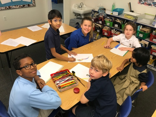 """Caleb Maru, Neil Kumar, Hope Spangler, Emma """"Bree"""" Smith, Mythili Gurram, and Jack Quehl draw and chat together about how long it takes to get to 6th and 7th grade."""