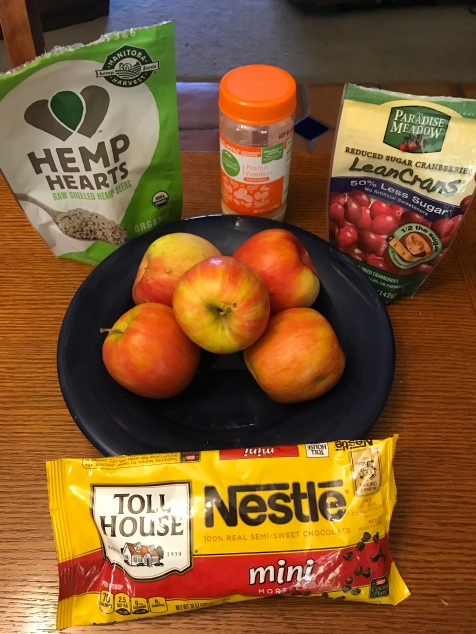 Ingredients that I used for my most recent variation of apple nachos.