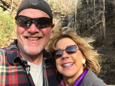 John and I pose for a selfie in front of Cathedral Falls.