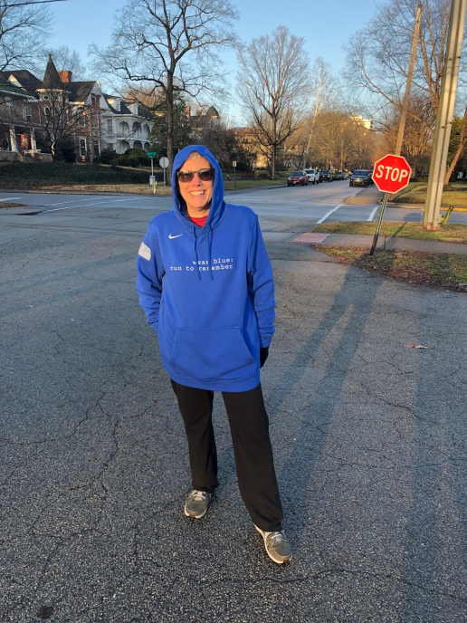 Debbie Davis participate in the first wear blue: run to remember event of the Ashland community.
