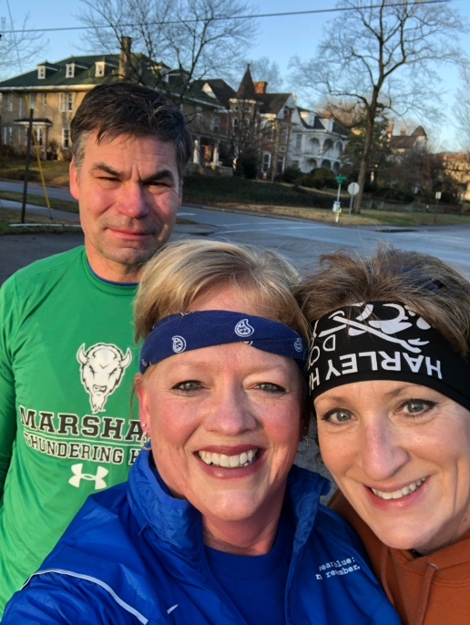 Dave Mers, US Army 1986 to 1990; Sandy Mers, Coordinator of the Ashland community of wear blue: run to remember community, a Beth Cline participate in the first wear blue: run to remember event of the Ashland community.