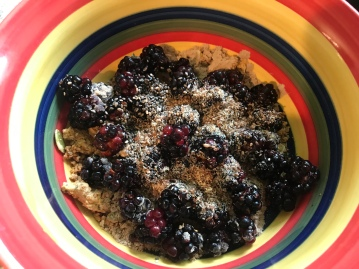As a child, I would have never eaten blackberries, much less top a morning bowl of muesli with it!