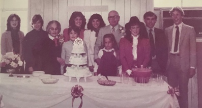 All nine of their grandkidsL Traci, Candy, Grandmother, Clifton, Michelle, Carol, Rachel (in front of Papaw), me (Stephanie), David, and Scott.
