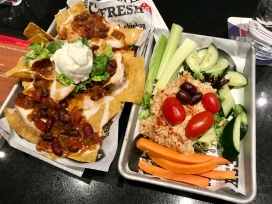 $5 Happy Hour Apps: Nachos and Hummus with veggies