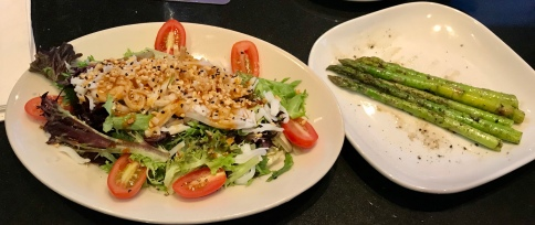 Pad Thai Noodle Salad with a side of grilled asparagus